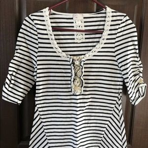 Anthropologie Postmark XS striped tee lace top